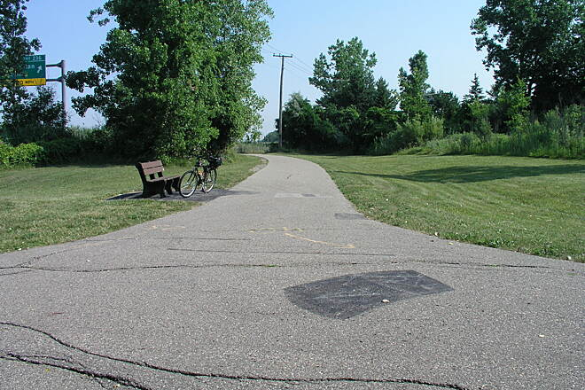 Clinton River Spillway Bike Path Fork in the Path This is the fork in the path which you can go to Shady Side Park in Mt. Clemens or go to Metro Parkway path.