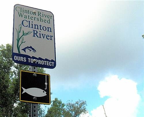Clinton River Trail Clinton River Sign Clinton River Watershed sign along trail