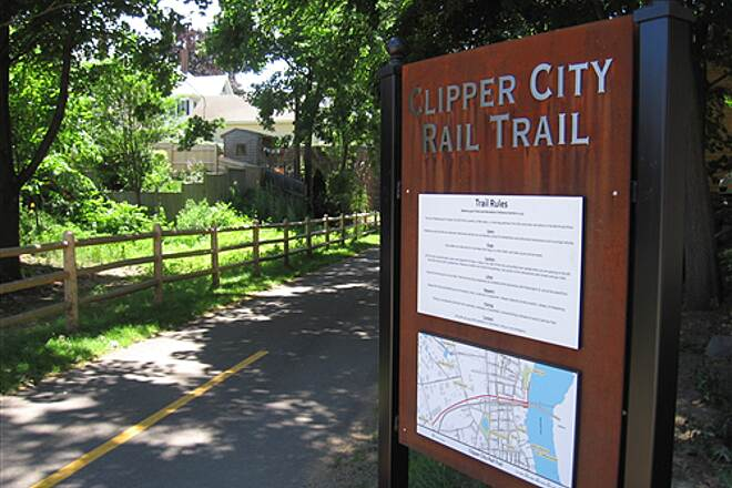 Clipper City Rail Trail & Harborwalk Clipper City Rail Trail sign This is a sign at the Washington Street entrance to the Clipper City Rail Trail.