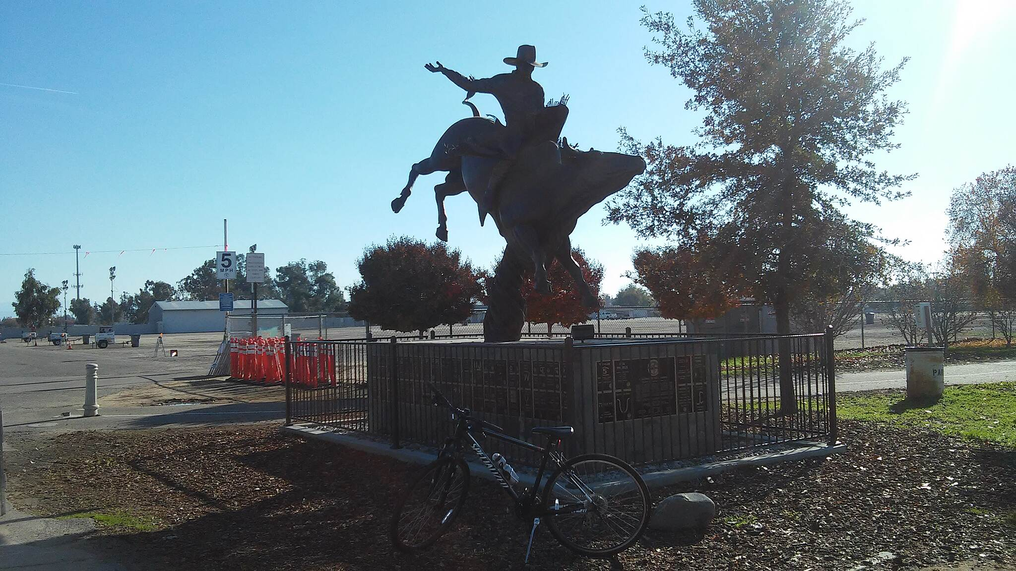 Clovis Old Town Trail clovis rodeo grounds lots of history statue and plaque along  the trail