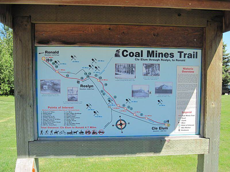 Coal Mines Trail THE COAL MINES TRAIL The map board at the start of the trail at Stafford St. and First Street in Cle Elum.  The trail starts one block over at 2nd St. and Stafford.