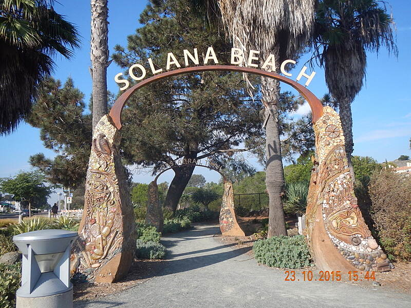 Coastal Rail Trail Double Mosaic Arches  Entrance at Via De La Valle with many facts incorporated in the Beautiful Mosaic art work.Noel Keller 23 Oct 2015