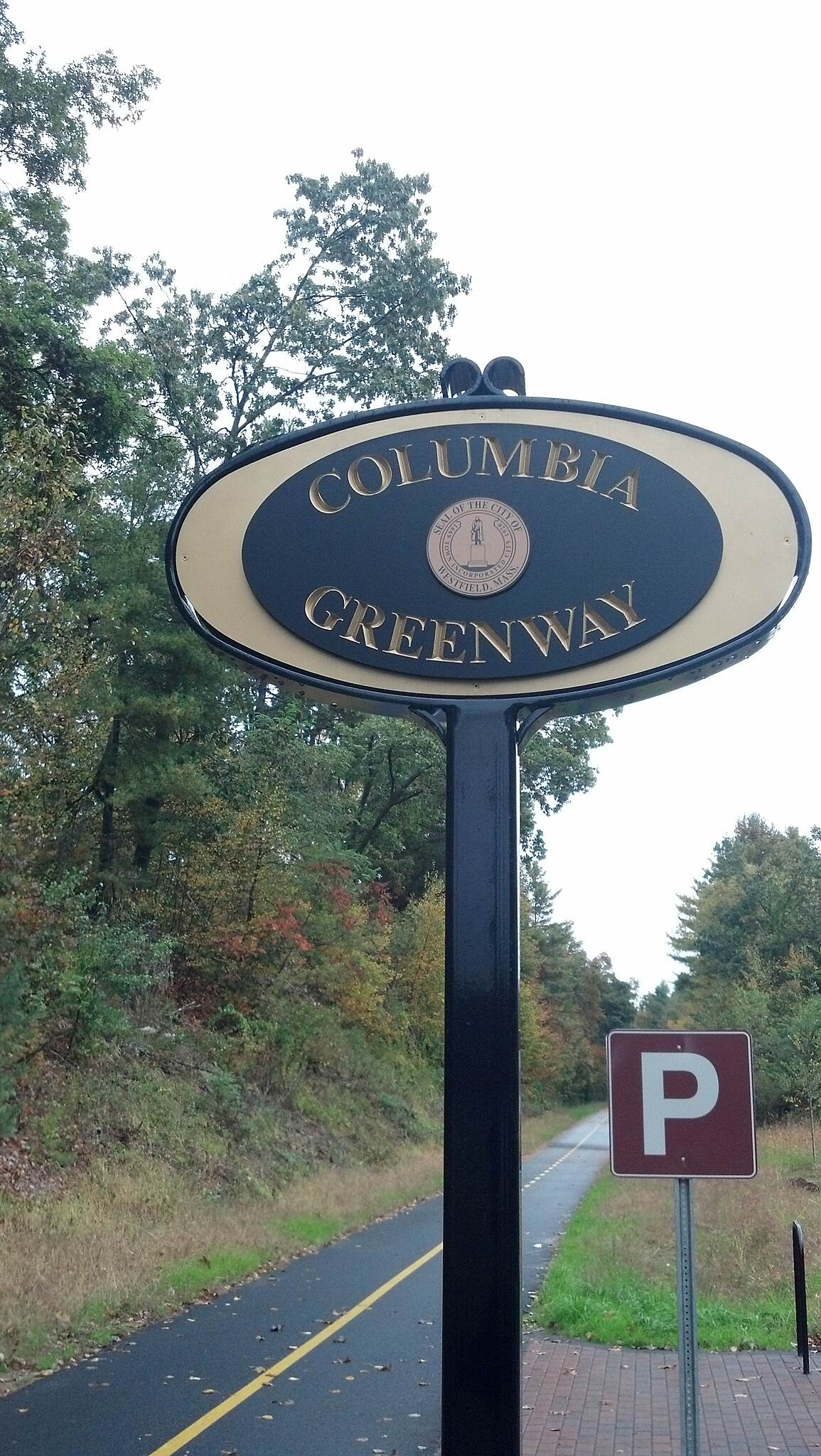 Columbia Greenway Rail Trail Columbia Greenway Sign Trail Sign at the trailhead on Shaker Rd. Westfield