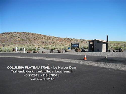 Columbia Plateau Trail State Park COLUMBIA PLATEAU TRAIL - Ice Harbor Dam Trail end and facilities at boat launch at dam.