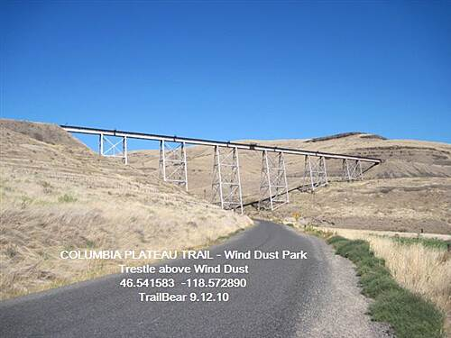 Columbia Plateau Trail State Park COLUMBIA PLATEAU TRAIL - Wind Dust Trestle above Wind Dust Park on the Snake