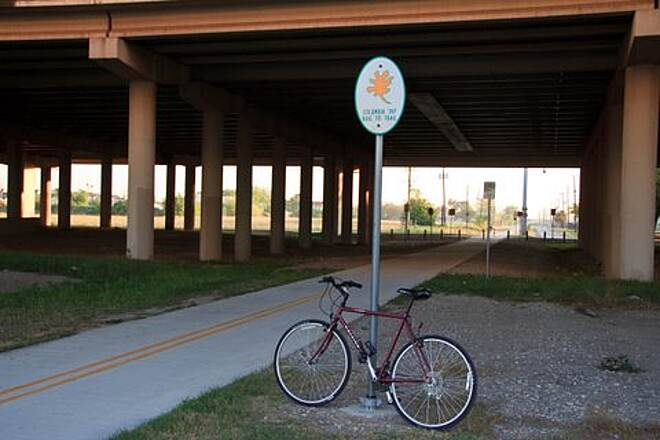 Columbia Tap Rail-Trail Columbia Tap at Gulf Freeway The trail crosses under busy I-45/Gulf Freeway