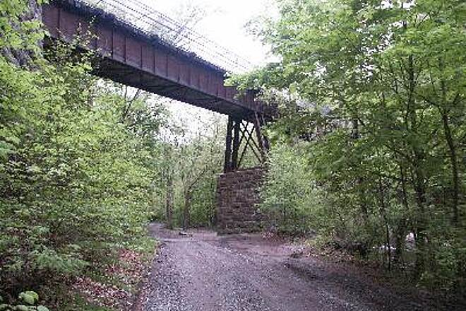 Columbia Trail Bridge from Below This photo was taken from the gorge dirt road going under the bridge in Ken Lockwood.