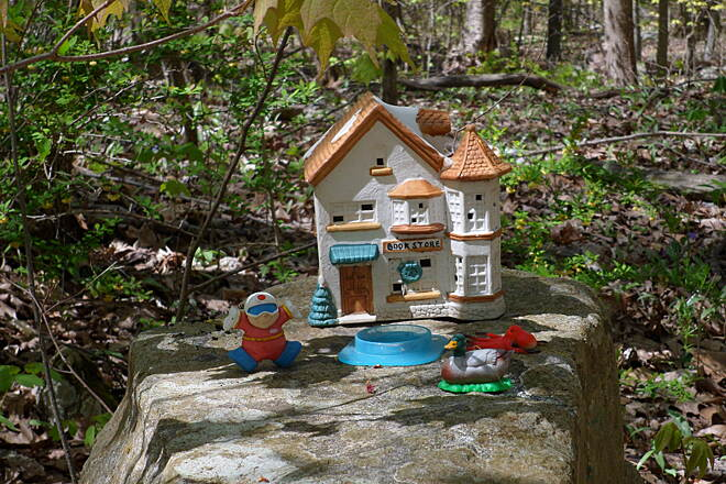 Columbia Trail whimsical house #4 Different whimsical miniature houses and gnomes are seen throughout the trail.