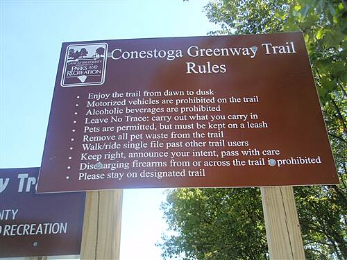 Conestoga Greenway Trail Conestoga Greenway Posted rules of the trail