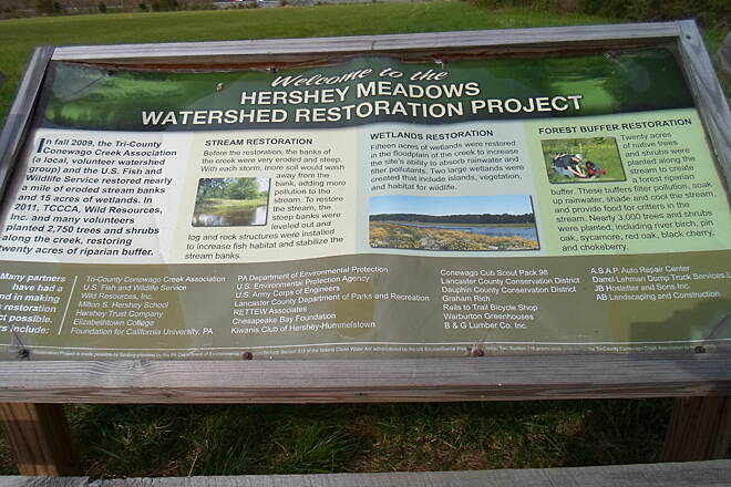 Conewago Recreation Trail Conewago Recreation Trail Another sign explaining the environmental restoration project in the meadows off the trail between Route 743 and the Route 283 bridges.