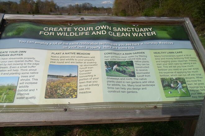 Conewago Recreation Trail Conewago Recreation Trail Environmental tips for property owners, described on a sign at the Hershey Meadows preserve off the trail north of Elizabethtown. Taken May 2015.
