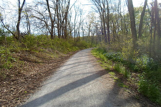 Conewago Recreation Trail Conewago Recreation Trail The effects of spring, with multi-colored plants replacing the wintertime drab, can be seen clearly in this trail photo, taken in early May 2015.