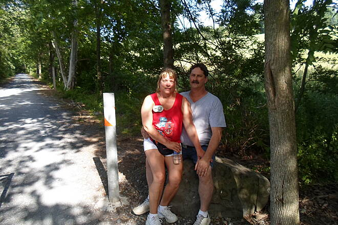 Conewago Recreation Trail Conewago Recreation Trail This couple were taking a breather on a rock at the Koser Road crossing. Taken June 2015.