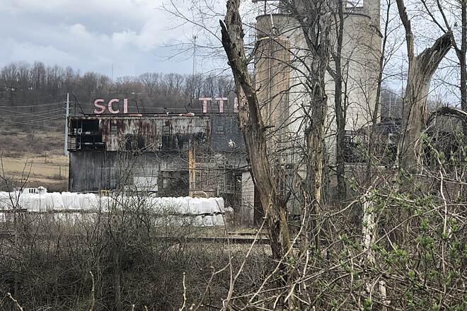 Conotton Creek Trail Scio Pottery A view of the old Scio Pottery Works just outside of Scio, Ohio on the other side of the active rail line that parallels the trail.  April 2019.