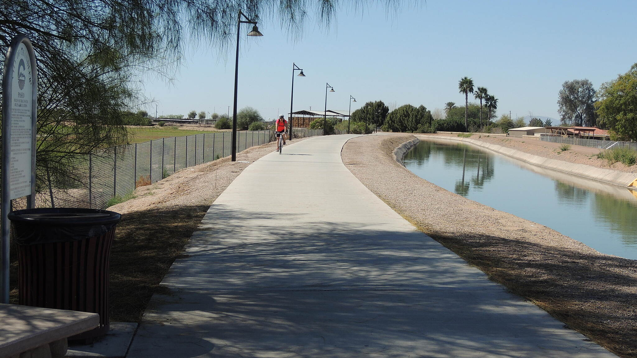 Consolidated Canal Path Paseco Trail looking south By the muni airport in Chandler, trail passes thru rural and well kept residential areas.