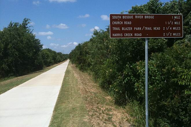 Cotton Belt Trail (Waco) East End of Trail Looking West This mileage sign is near the east end of the trail.