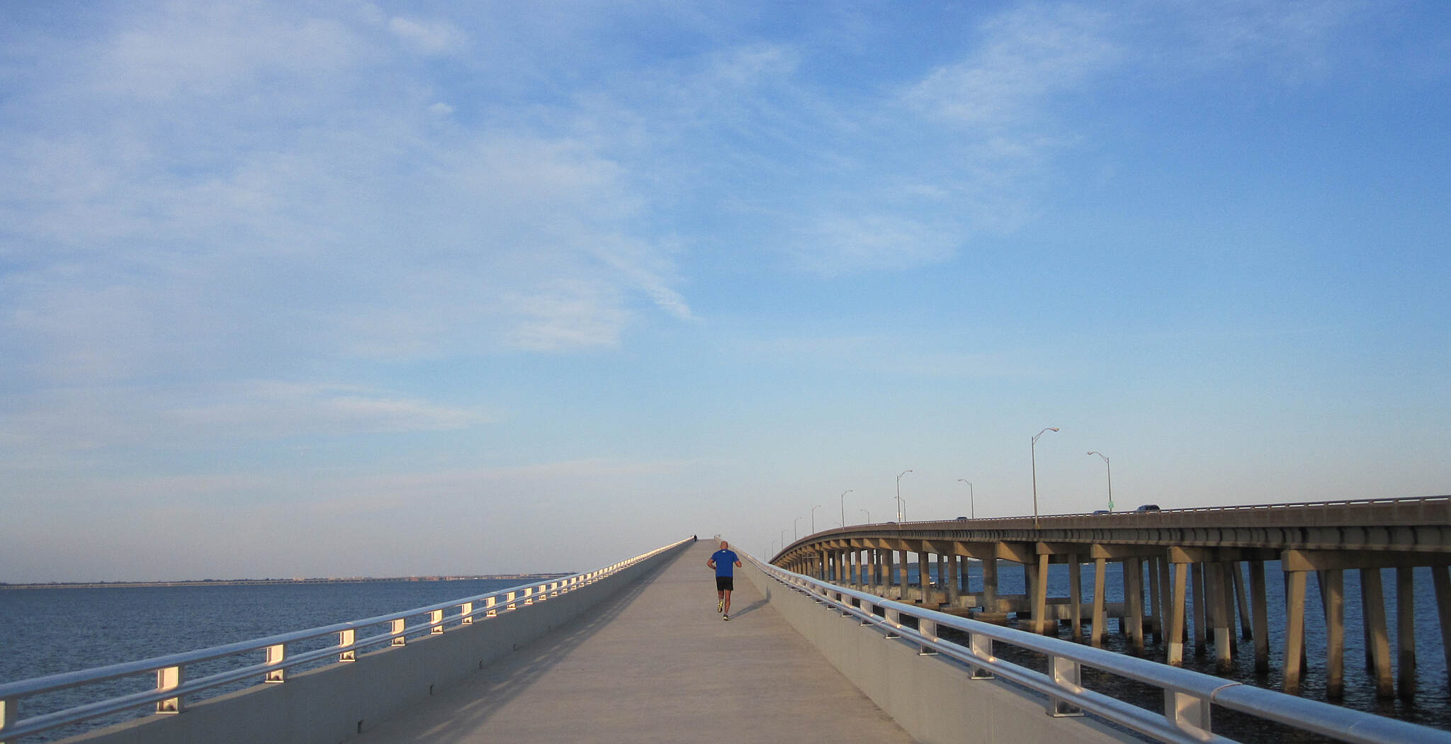 Courtney Campbell Trail Courtney Campbell Causeway '15 Much nicer looking for dolphins than looking for ice.  Great place for a vacation run.