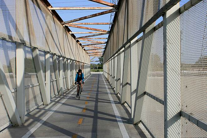 Coyote Creek Bikeway Crossing the San Gabriel River bridge
