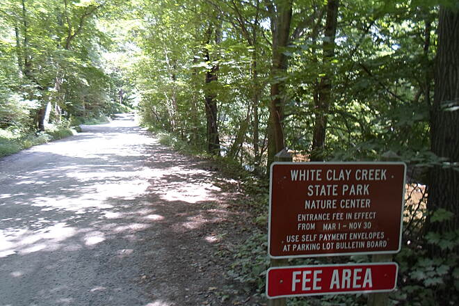 Creek Road Trail Creek Road Trail Word to the wise: Delaware charges small fees for parking in their state parks. Be prepared to pay $4 if you're a native and $8 if you're out-of-state.