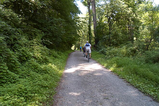 Creek Road Trail Creek Road Trail Family cycling along the shaded trail on a hot, midsummer day. Taken July 2015.