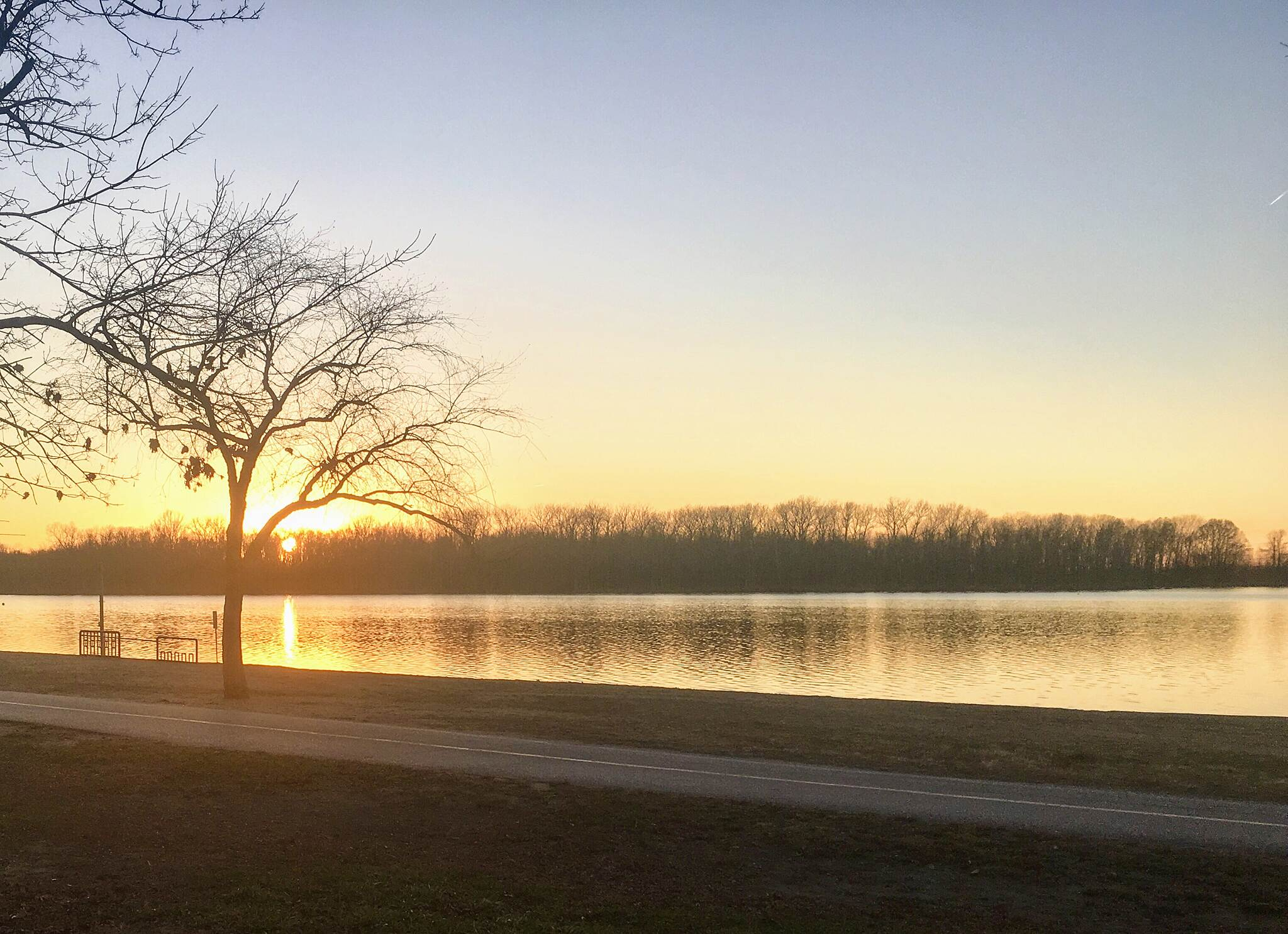 Creve Coeur Park Trails Last day of Autumn Sunset at Creve Coeur Lake
