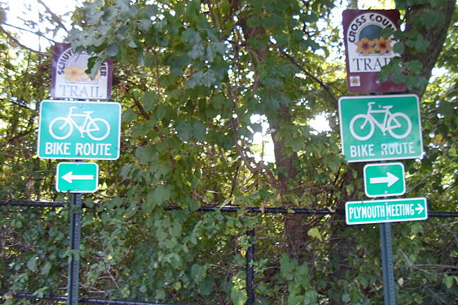 Cross County Trail (PA) Cross County Trail Signs at the junction with the Schuylkill River Trail at the southwest terminus on Conshohocken. The Cross County Trail heads to the right towards Plymouth Meeting, while the Schuylkill River Trail goes left, extending southeast to Philadelphia.