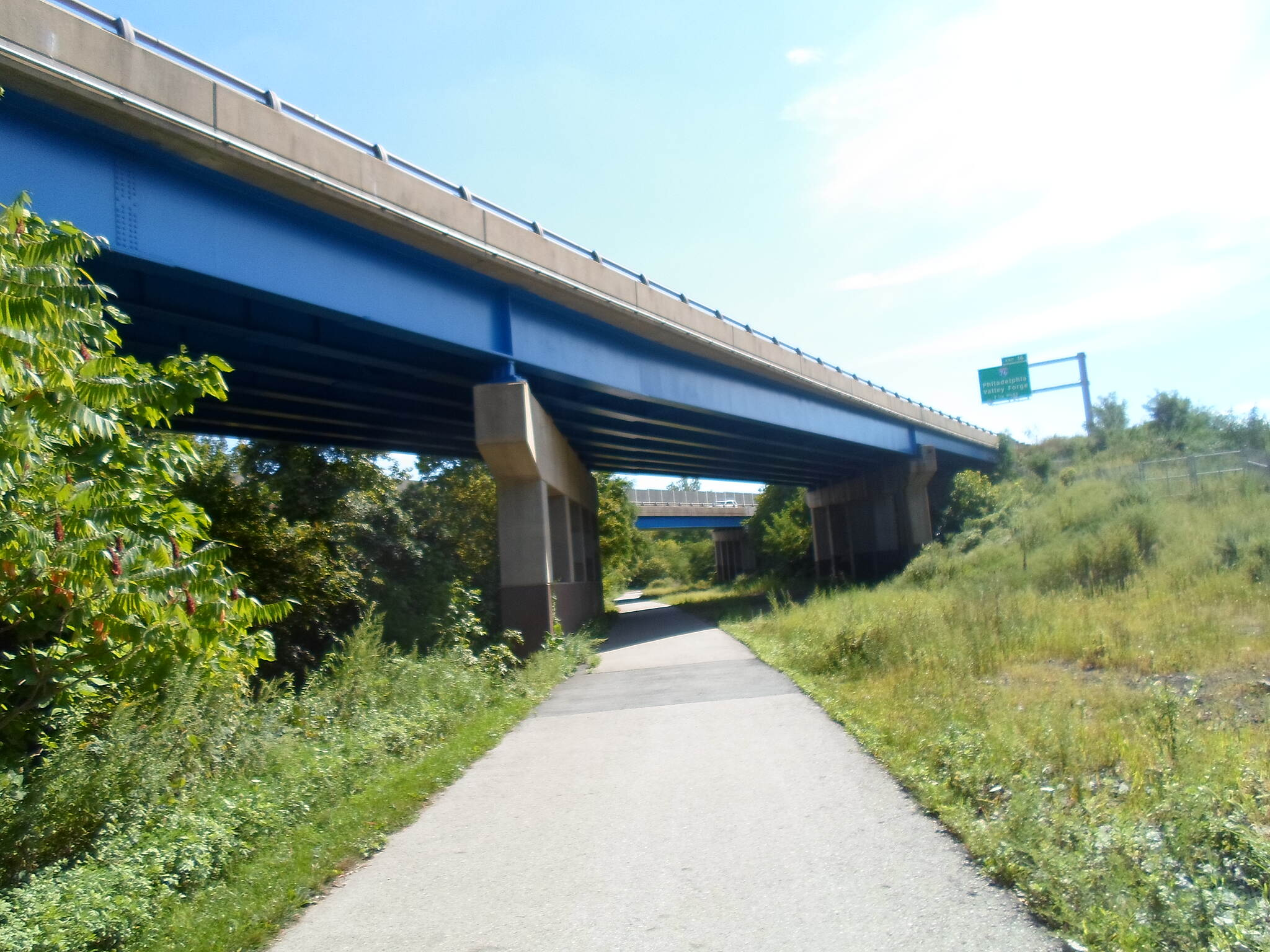 Cross County Trail (PA) Cross County Trail Passing beneath I-476. The blue beams are fitting, since the highway is unofficially known as 'The Blue Route.' Taken Sept. 2014.