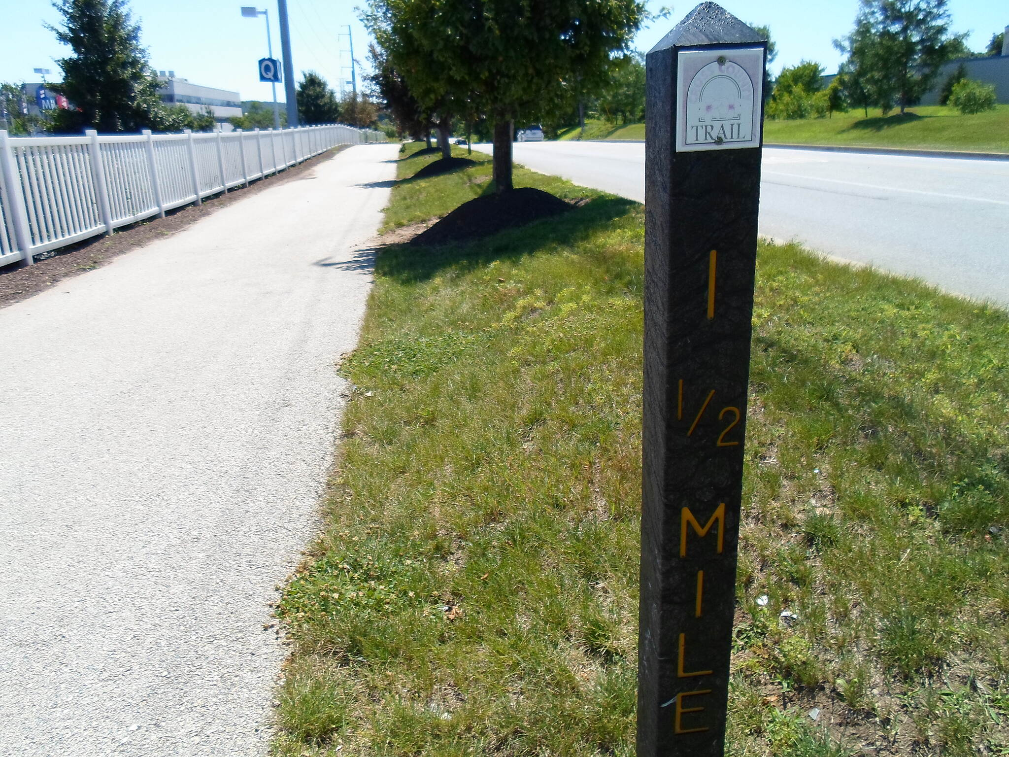 Cross County Trail (PA) Cross County Trail Mile marker near IKEA. Taken July 2014.