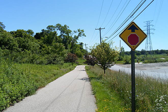 Cross County Trail (PA) Cross County Trail Approaching the crossing at Brook Road, southwest of IKEA. Taken July 2014.