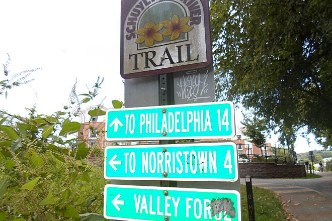 Cross County Trail (PA) Cross County Trail Directional sign, complete with the distance to nearby towns, at the trail's southwest terminus in Conshohocken.