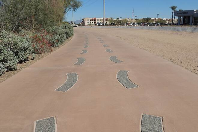Crosscut Canal Path Inlaid Art Beautiful path with inlaid art.