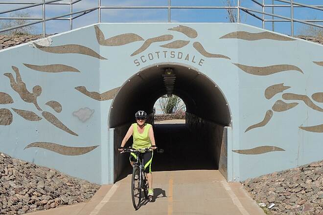 Crosscut Canal Path Underpass at McDowell Path is paved from N. Mill Ave on the south to Indian School Road on the north.