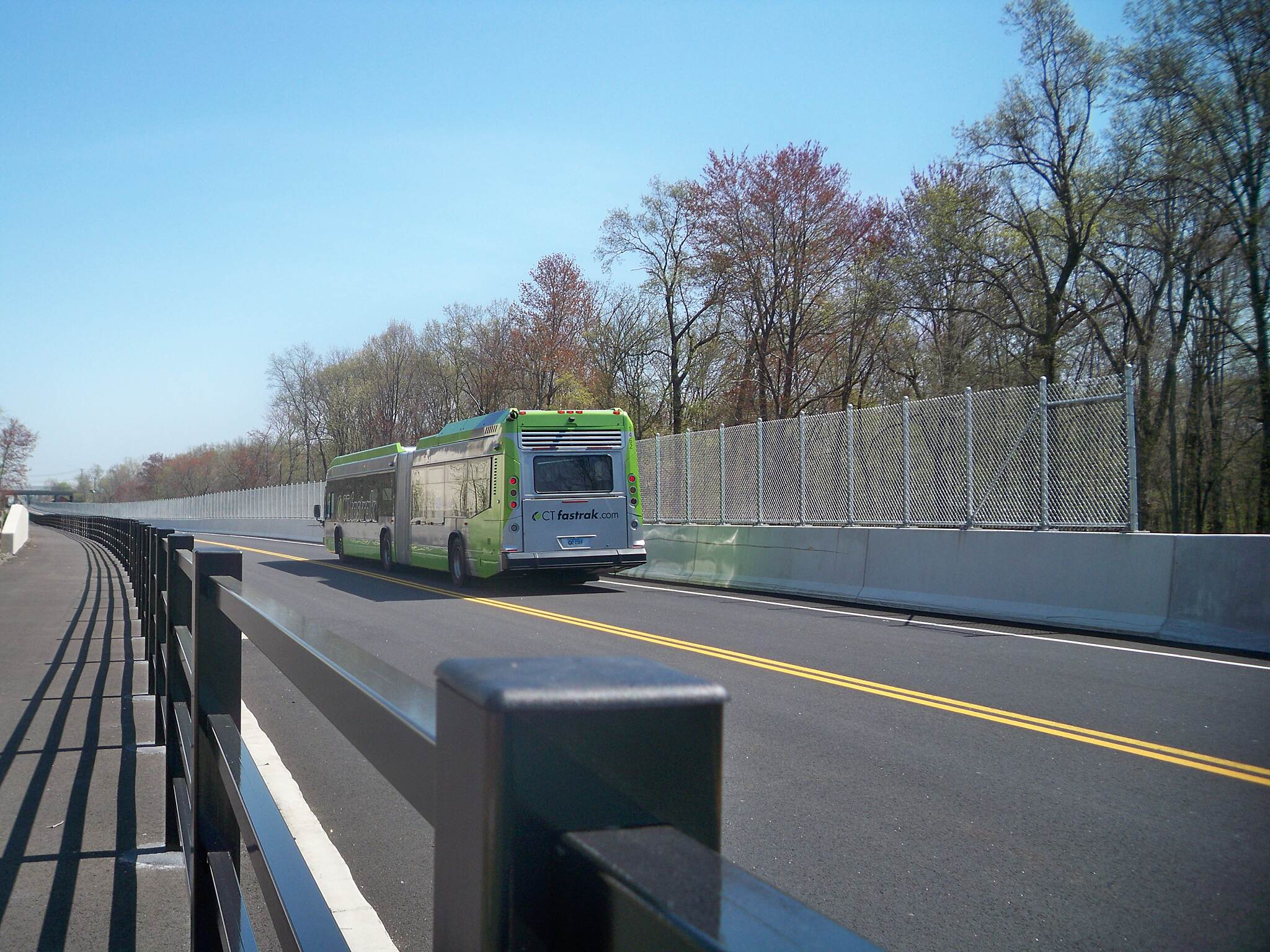 CTfastrak Multi-Use Trail Fences Fences separate the bus guideway from the trail and the Amtrak railway just south of Newington Junction.