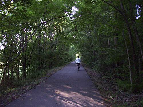 Cumberland River Bicentennial Trail  Going North on CRT Jean is headed north on the trail. It was cool and early on June 14th morn!
