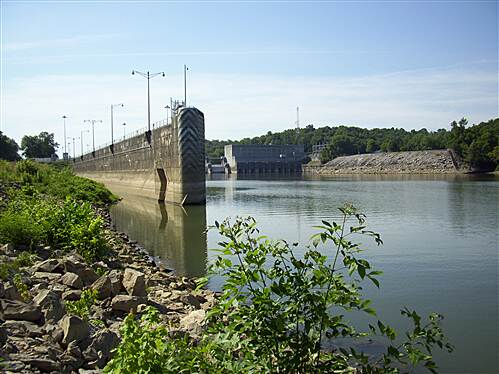 Cumberland River Bicentennial Trail  Looking South at dam site. The other end of the lock and dam.