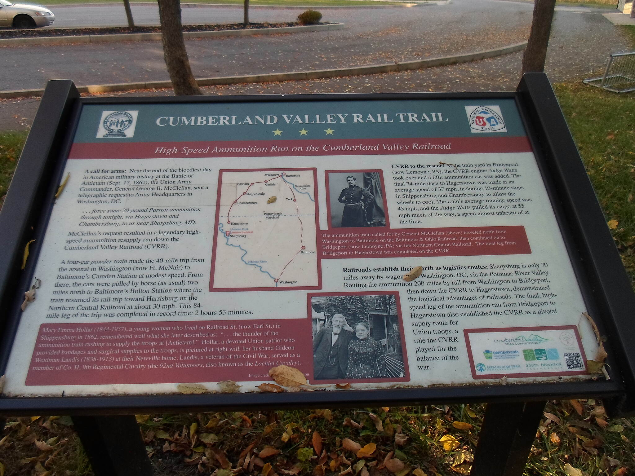 Cumberland Valley Rail Trail Cumberland Valley Rail Trail Sign detailing the RR's role in the Civil War.