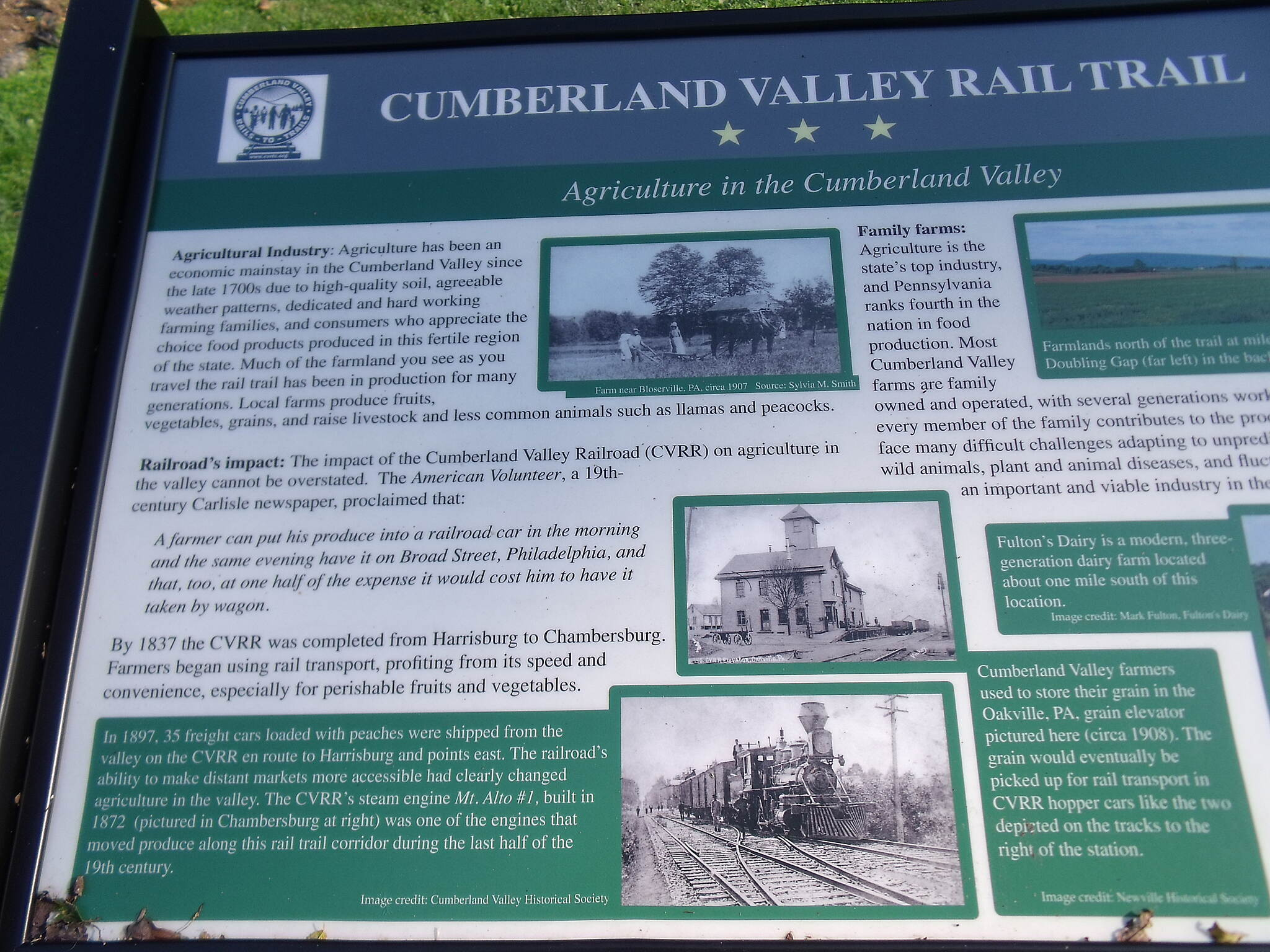 Cumberland Valley Rail Trail Oakville Depot Plaque