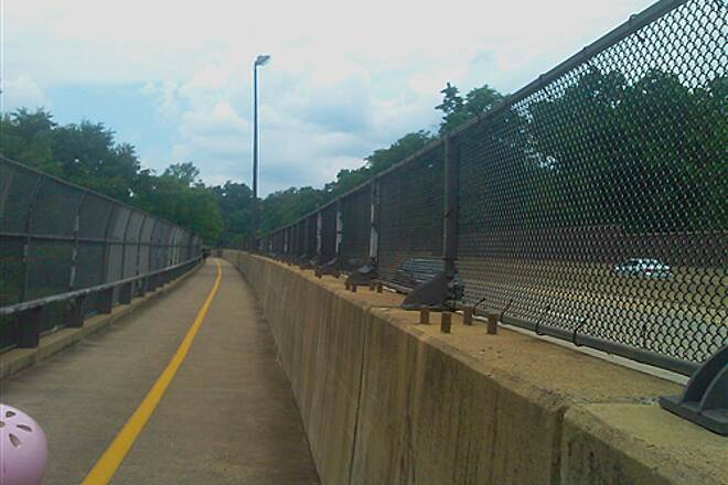 Custis Trail Bridge over highway Crossing over one highway while riding along the other