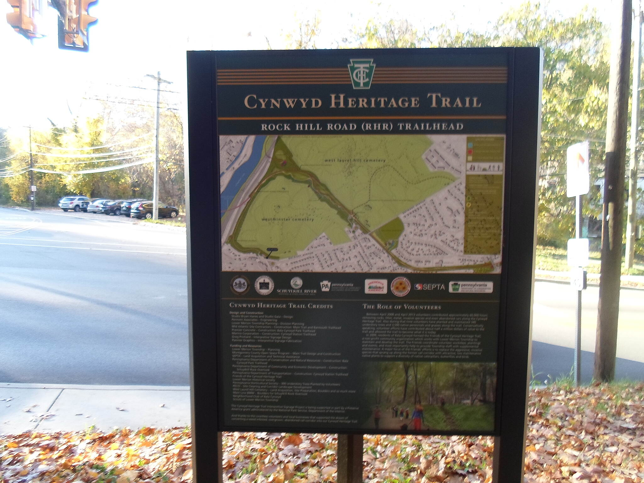 Cynwyd Heritage Trail Cynwyd Heritage Trail Sign marking the Rock Hill trailhead, just southwest of I-76.