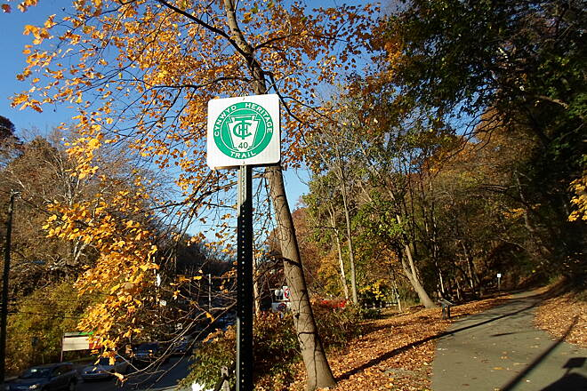 Cynwyd Heritage Trail Cynwyd Heritage Trail Sign marking the beginning of the trail at the Rock Run Trailhead off Belmont Ave. Taken Nov. 2015.