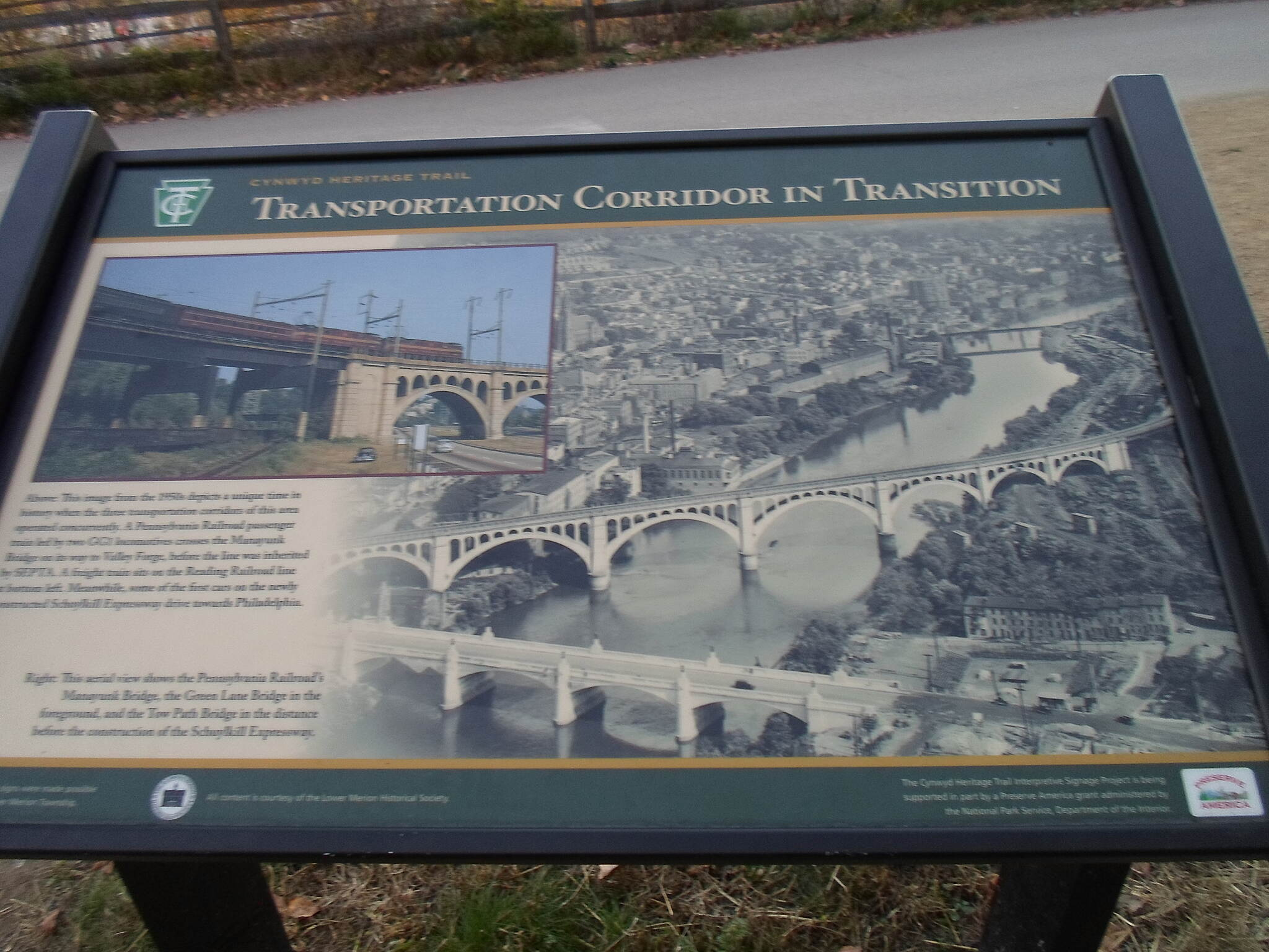 Cynwyd Heritage Trail Cynwyd Heritage Trail This sign details that history of the Schuylkill River and its banks as a major transportation corridor, from canal, to rail, to expressway, and finally to trail.