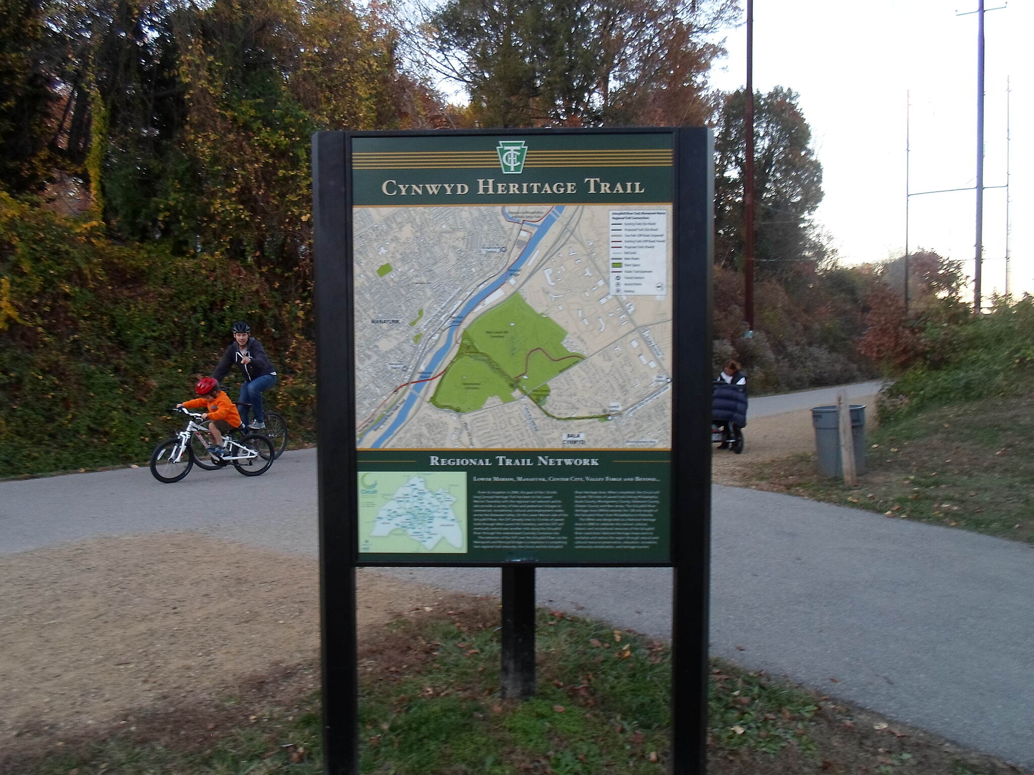 Cynwyd Heritage Trail Cynwyd Heritage Trail This sign is at the junction of the trail and the access path to Lower Merion Township Park. Taken Nov. 2015.