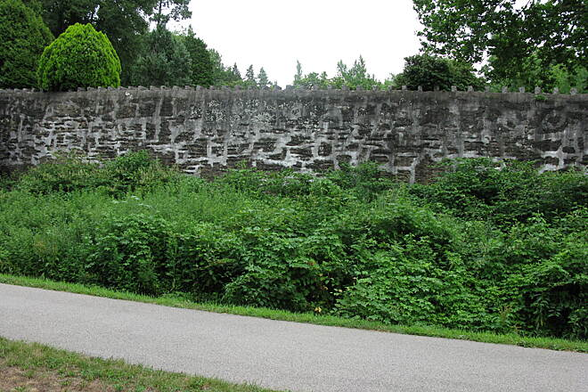 Cynwyd Heritage Trail Cynwyd Heritage Trail Ornate retaining wall separating the trail from the nearby cemetery; it reminds me of a medieval castle wall.