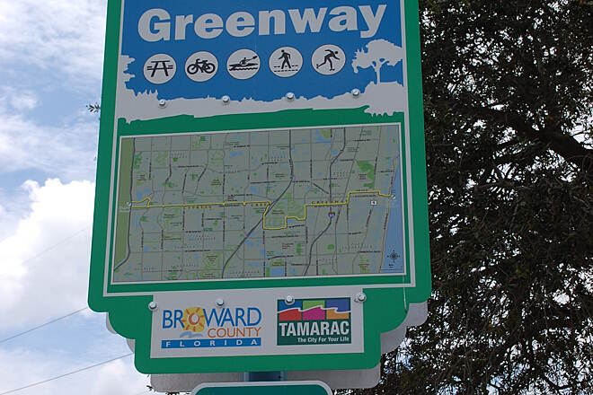 Cypress Creek Greenway Cypress Creek Greenway Sign Tamarac sign near the dog park for the Cypress Creek Greenway Project, Everglades to Ocean.