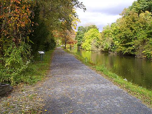 D & L Trail - Lehigh Canal North D&L Trail Lehigh Canal (North).  October 10, 2009 Looking north in Weissport, canal on right side.