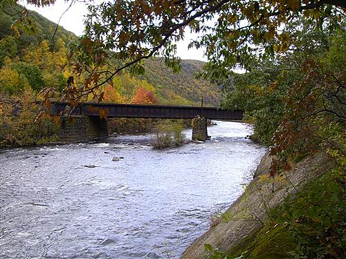 D & L Trail - Lehigh Canal North D&L Trail Lehigh Canal (North) October 10, 2009 View looking north of railroad tussle crossing the Lehigh River.
