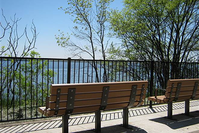 Dakota Rail Regional Trail   Benches overlook Lake Waconia.