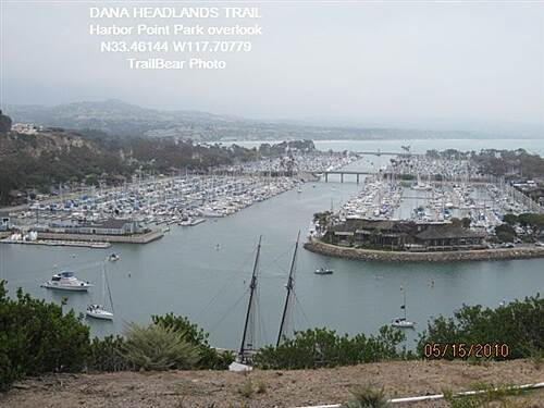 Dana Point Headlands Trail DANA HEADLANDS TRAIL, DANA PT., CA. Dana Point Harbor below.