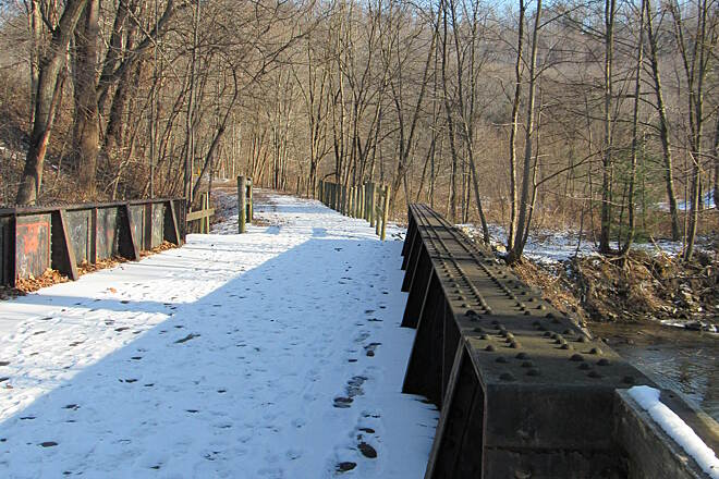 David S. Ammerman Trail (formerly Clearfield to Grampian Trail) Railroad history frozen in time Old PRR *Pennsylvania Railroad* Right of way in the snow. Anderson Creek near Curwensville.