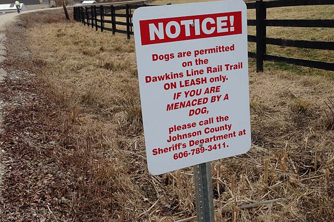 Dawkins Line Rail Trail New sign on the trail today... If you have a problem with a dog on the trail please call the number posted on the sign. Photo submitted By fw707.